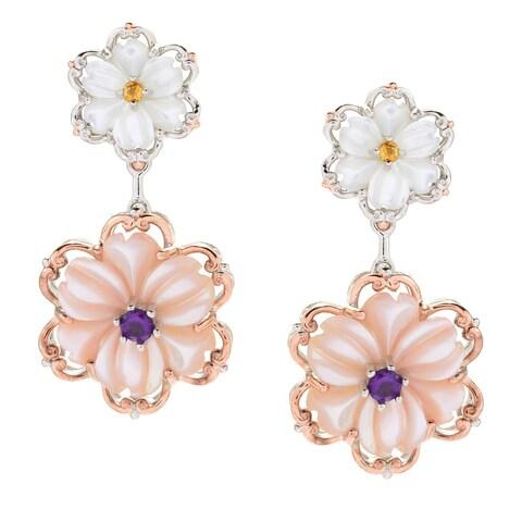 Michael Valitutti Palladium Silver Mother-of-Pearl Flower & Gemstone Drop Earrings