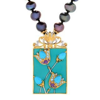 Michael Valitutti Palladium Silver Cleopatra Freshwater Cultured Pearl & Multi Gem Necklace|https://ak1.ostkcdn.com/images/products/16962479/P23248945.jpg?impolicy=medium