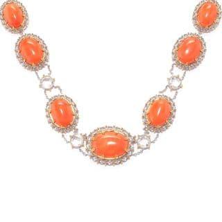 Michael Valitutti Palladium Silver Salmon Bamboo Coral & White Topaz Collar Necklace|https://ak1.ostkcdn.com/images/products/16962480/P23248946.jpg?impolicy=medium