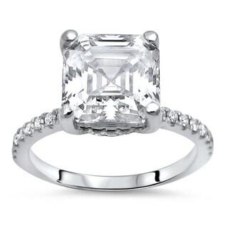 Noori 14k Gold 2 1/4 ct Asscher Moissanite Center 1/4 ct Diamond Surrounding Engagement Ring 8mm (More options available)