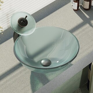 René By Elkay R5-5002-WF Frosted Glass Vessel Sink with Waterfall Faucet, Sink Ring, and Pop-Up Drain