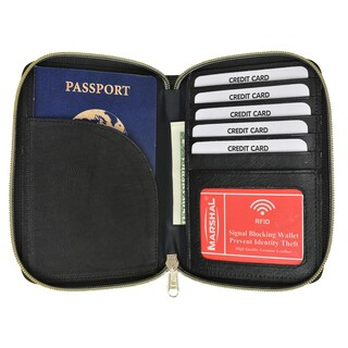 Marshal RFID Premium Leather Men's Passport Bifold Zip Around Wallet
