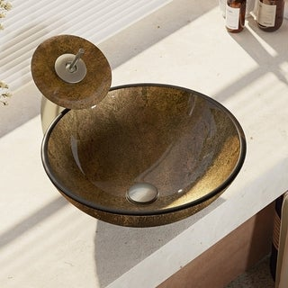 R5-5035-WF Foil Undertone Glass Vessel Sink with Waterfall Faucet, Sink Ring, and Pop-Up Drain