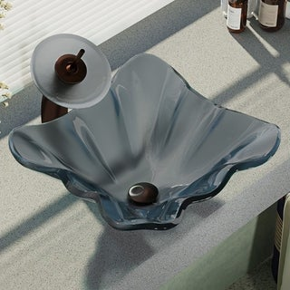 René By Elkay R5-5012-WF Frosted Glass Vessel Sink with Waterfall Faucet, Sink Ring, and Pop-Up Drain