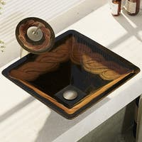 R5-5036-WF Foil Undertone Glass Vessel Sink with Waterfall Faucet, Sink Ring, and Pop-Up Drain