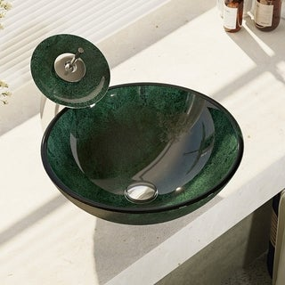 René By Elkay R5-5027-WF Forest Green Glass Vessel Bathroom Sink with Waterfall Faucet, Sink Ring, and Pop-Up Drain