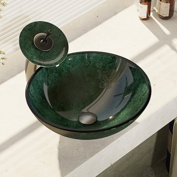 Shop R5 5027 Wf Forest Green Glass Vessel Bathroom Sink With Waterfall Faucet Sink Ring And