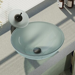 R5-5034-WF Foil Undertone Glass Vessel Sink with Waterfall Faucet, Sink Ring, and Pop-Up Drain