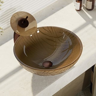 R5-5025-WF Beach Sand Glass Vessel Bathroom Sink with Waterfall Faucet, Sink Ring, and Pop-Up Drain