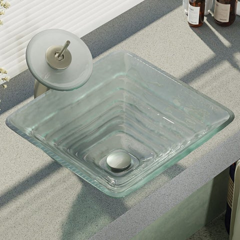 R5-5004-WF Glass Vessel Sink with Waterfall Faucet, Sink Ring, and Pop-Up Drain