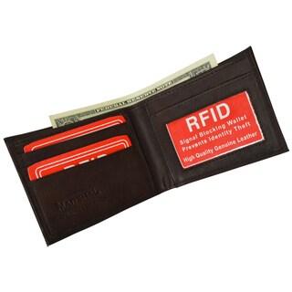 Marshal RFID Blocking Men's Leather Slim Bifold Wallet