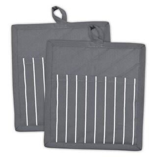 Grey Stripe Pocket Mitt Set