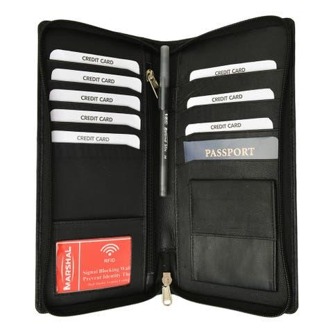 Marshal RFID Premium Leather Zipper Travel Credit Card Passport Wallet