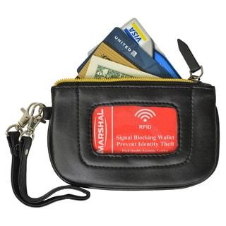 Marshal Women's Premium Leather RFID Blocking Safe Zip ID Pouch