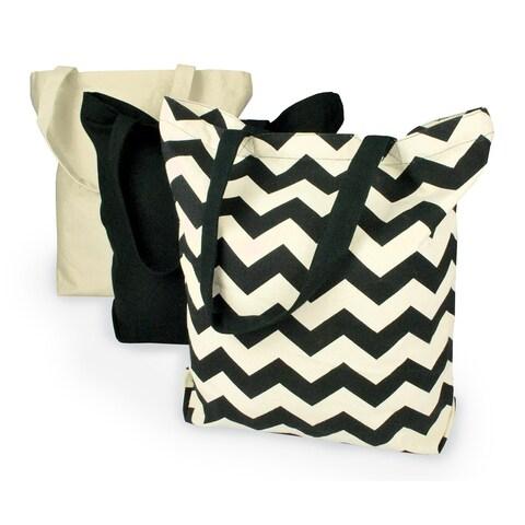 Black Chevron Canvas Tote Bag