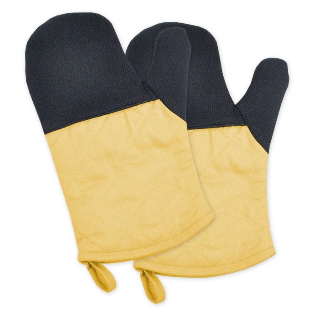 Neoprene Oven Mitt Set (Yellow) (Cotton)