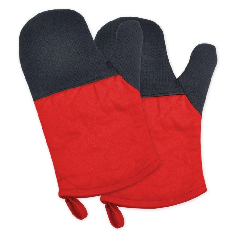 Neoprene Oven Mitt Set (Tango Red), Black (Cotton)