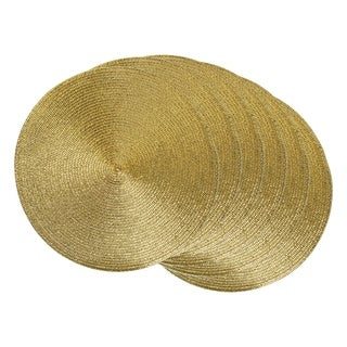 Metallic Gold Round Woven Placemat ( Set of 6)