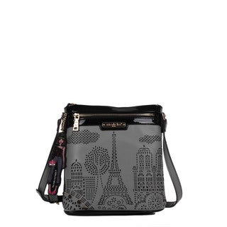 Nicole Lee Latona Paris Laser-cut Grey Crossbody Handbag