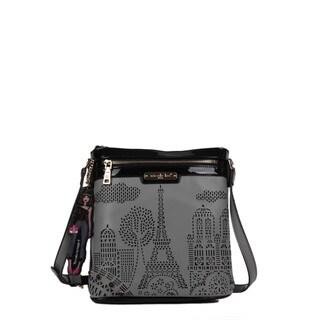 Nicole Lee Latona Paris Laser-cut Grey Crossbody Handbag