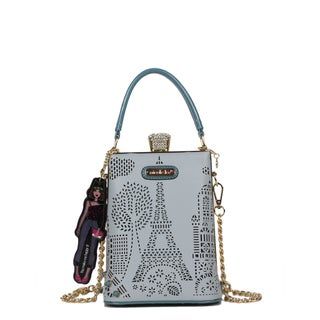 Nicole Lee Latona Laser-cut Blue Mini Chain Crossbody Handbag