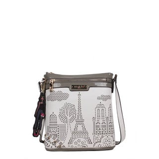 Nicole Lee Latona Paris Laser-cut White Crossbody Handbag