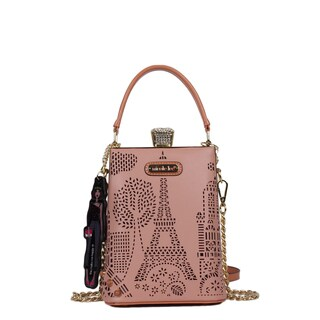 Nicole Lee Latona Laser-cut Pink Mini Chain Crossbody Handbag