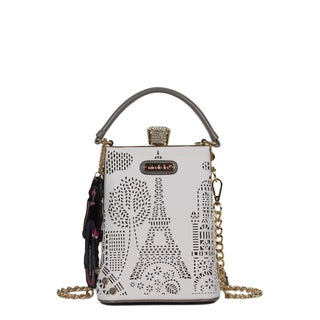 Nicole Lee Latona Laser-cut White Mini Chain Crossbody Handbag