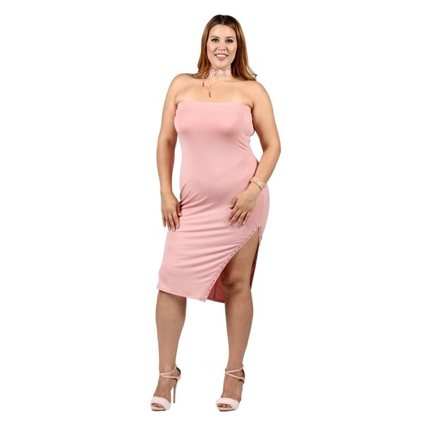 Shop Xehar Womens Plus Size Sexy Fitted Side Slit Bodycon Tube Dress