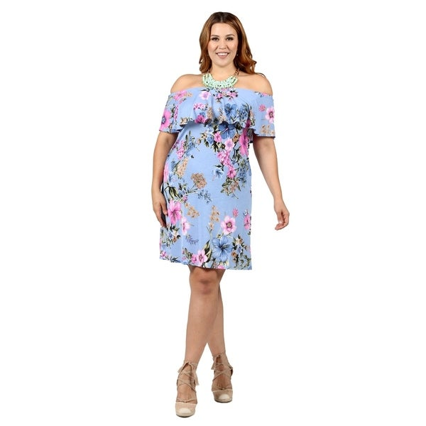 f233d316e12e7 Shop Xehar Womens Plus Size Off Shoulder Ruffle Floral Print Dress ...