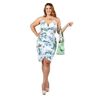 Xehar Womens Plus Size Floral Print Front Slit Short Dress