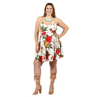 Xehar Womens Plus Size Sleeveless Floral Print Short Sheath Dress