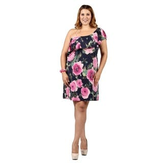 Xehar Womens Plus Size One Shoulder Floral Print Ruffle Dress|https://ak1.ostkcdn.com/images/products/16963149/P23249530.jpg?impolicy=medium