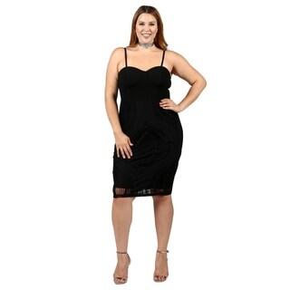 Xehar Womens Plus Size Sexy Crochet Sleeveless Bodycon Dress