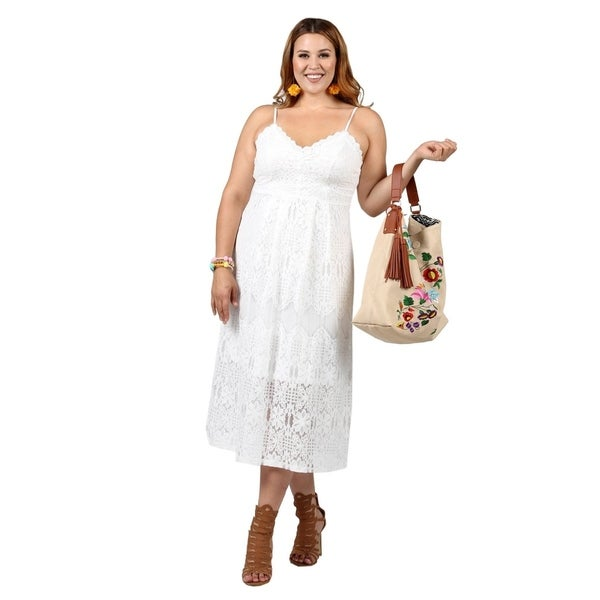 Shop Xehar Womens Plus Size Casual Sleeveless Crochet Lace Dress