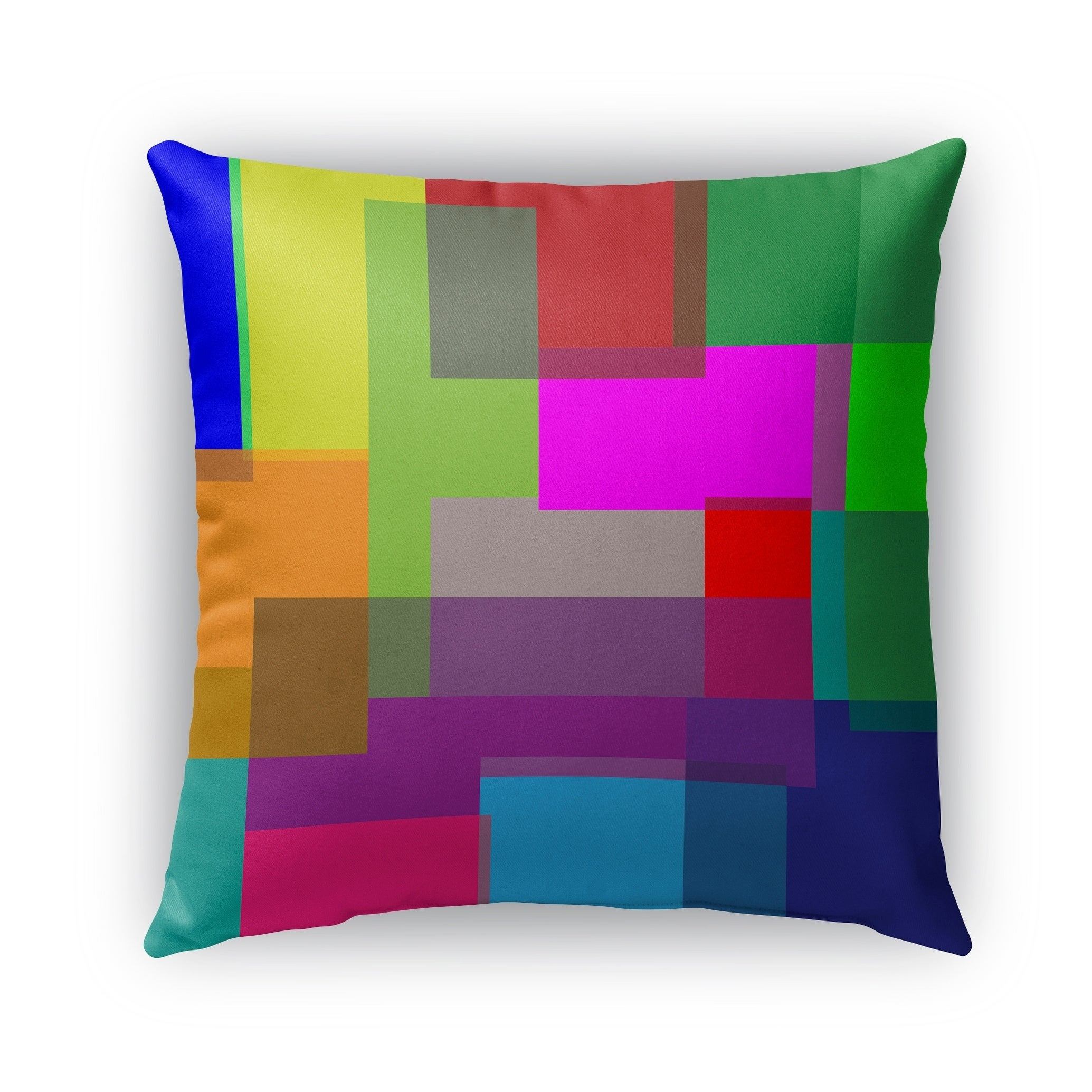 Kavka Designs blue; pink; peach; orange; green; red color theory blocks outdoor pillow with insert (16 x 16)