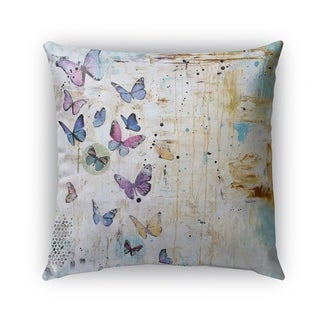 Kavka Designs blue; purple; ivory butterfly dance outdoor pillow with insert