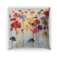 Kavka Designs red; orange; purple; blue; green dancing flowers outdoor pillow with insert