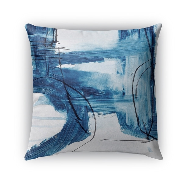 Kavka Designs blue; ivory blue abstract set six outdoor pillow with insert