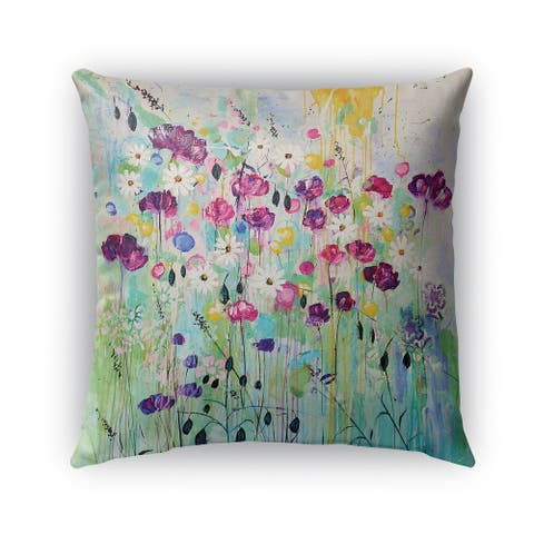 Kavka Designs purple; green; blue floral play outdoor pillow with insert