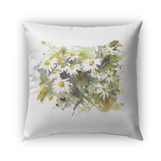 Kavka Designs yellow; green; white daisies outdoor pillow with insert
