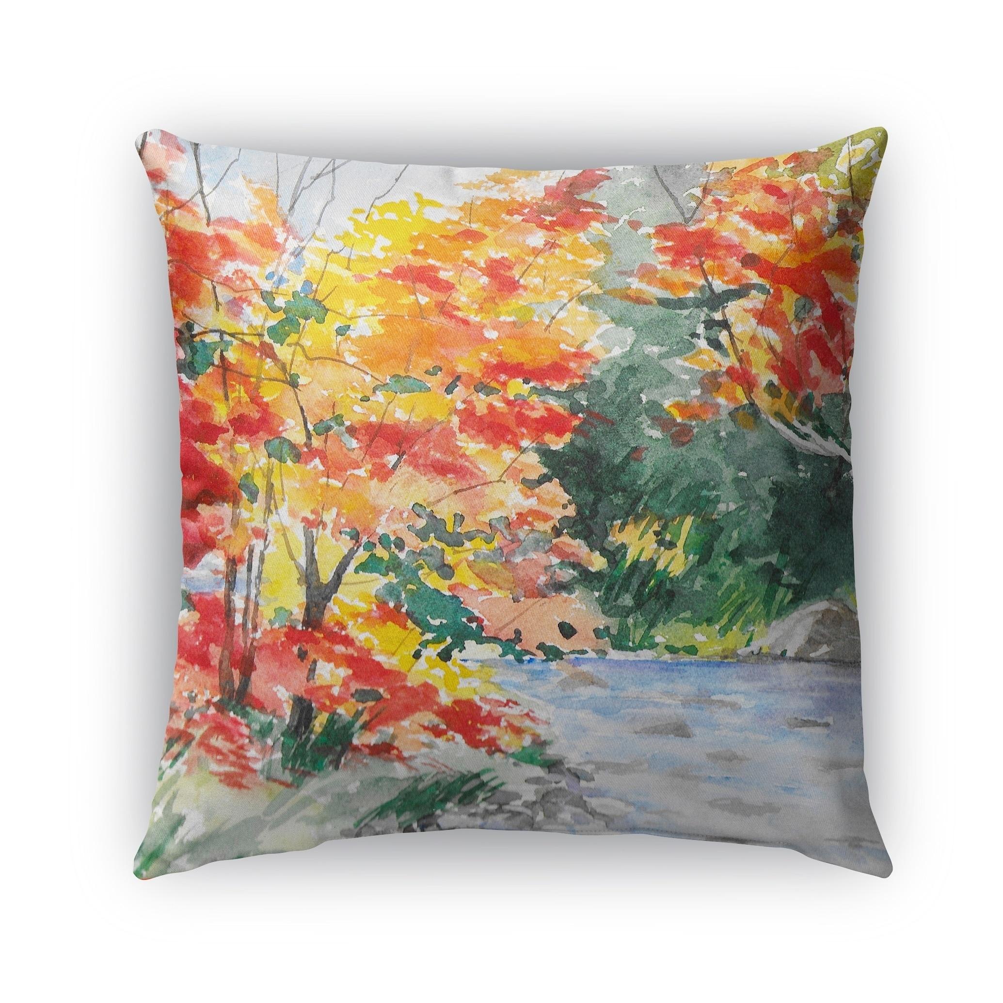 Kavka Designs yellow; orange; red; green autumn outdoor pillow with insert (16 x 16)