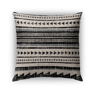 Kavka Designs ivory; grey; beige triangle stripe outdoor pillow with insert