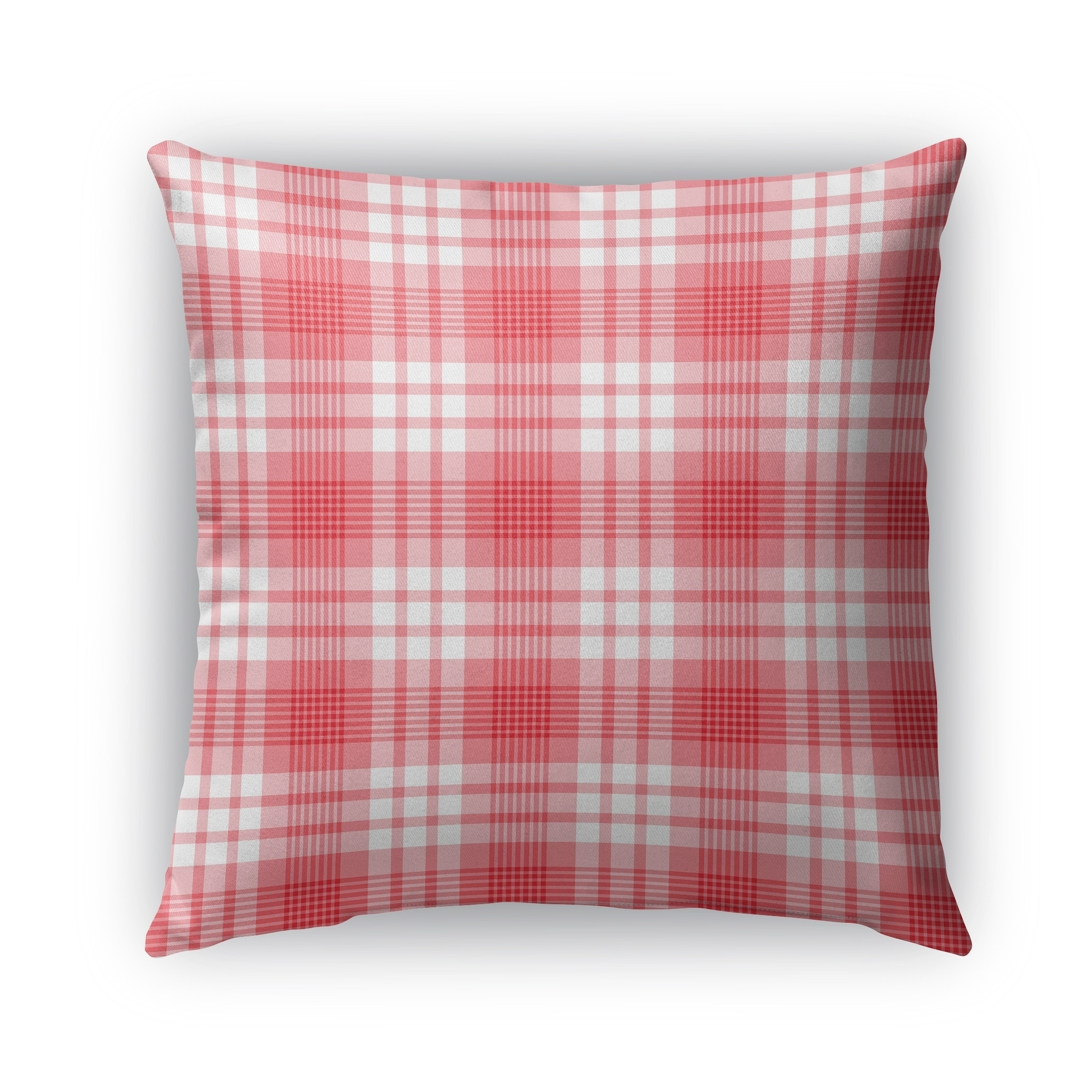 Kavka Designs red; pink candy cane plaid outdoor pillow with insert (18 x 18)