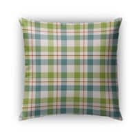 Kavka Designs green; blue; orange fishing plaid outdoor pillow with insert