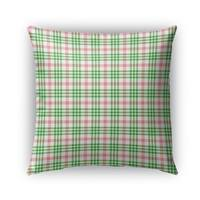 Kavka Designs pink; green candy cane plaid outdoor pillow with insert