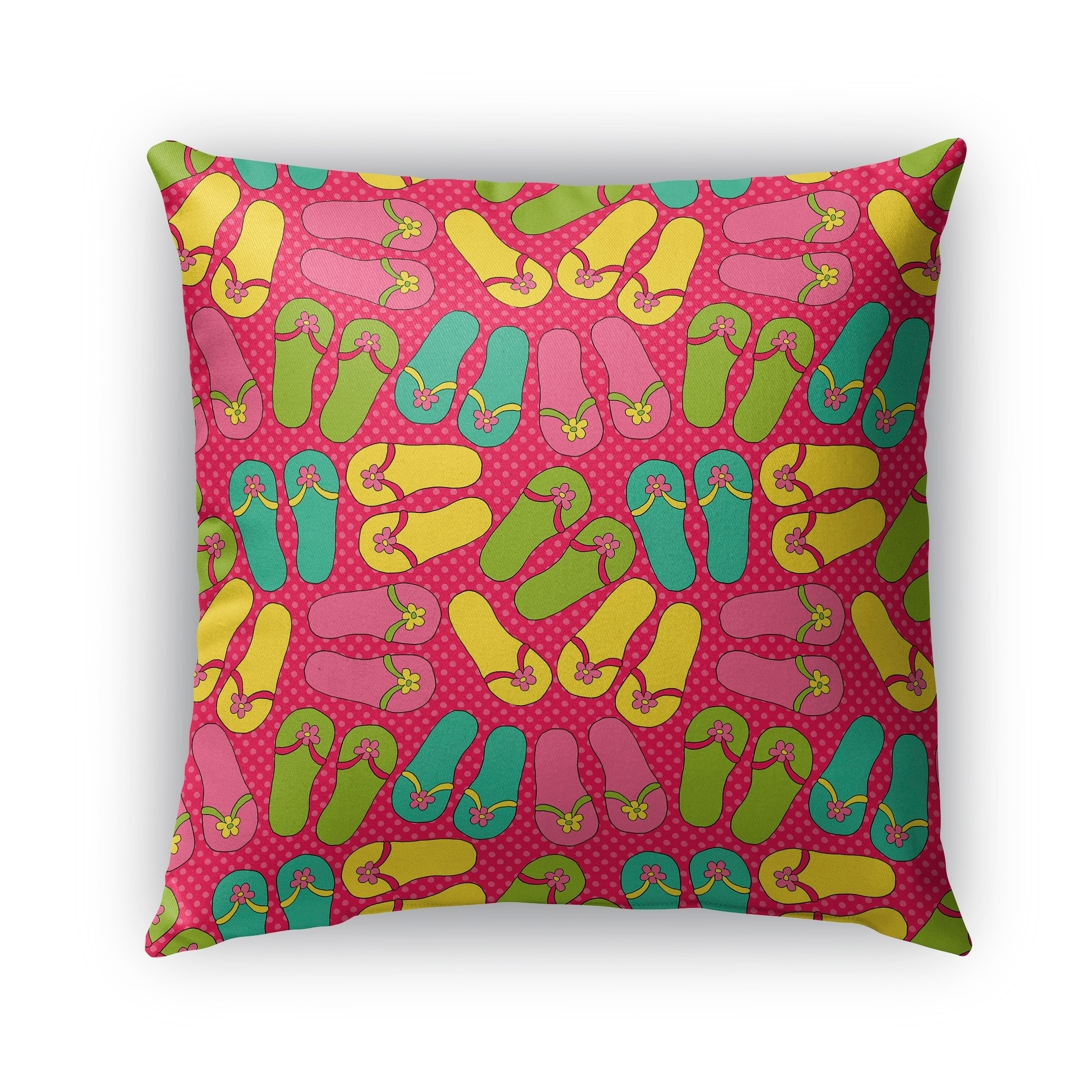 Kavka Designs pink; yellow; blue; green sandals outdoor pillow with insert (26 x 26)