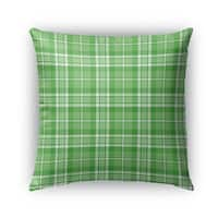Kavka Designs green candy cane plaid outdoor pillow with insert