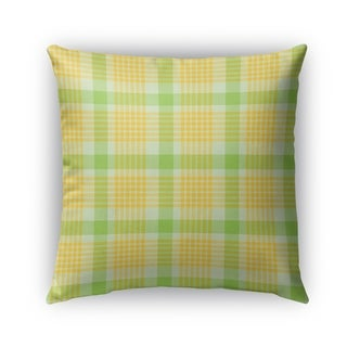 Kavka Designs green; yellow floral plaid outdoor pillow with insert