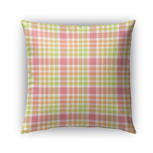 kavka designs green pink orange christmas plaid outdoor pillow with insert - Christmas Outdoor Pillows